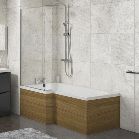 L Shape Shower Bath Panels Gloss Walnut